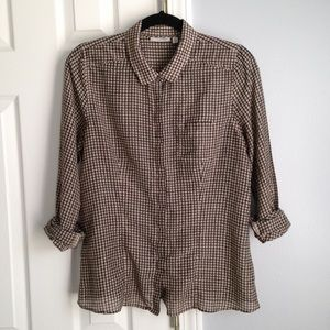 Halogen Cotton blend button down shirt